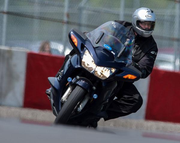 Ed carves a perfect line on his ST1300. photo: otmpix.com