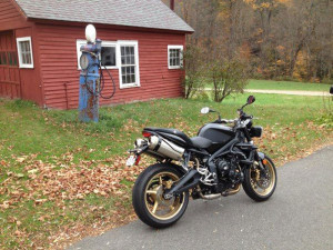The Street Triple is serving duty as both a track bike and a street bike. It's great on gas.