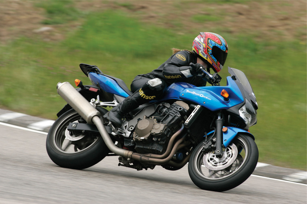 """My wife, Caroline in """"the bowl"""" at NH Motor Speedway on her Kawasaki z750s"""