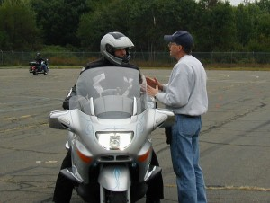 Ken gives direction to a BMW rider at an MSF Experienced RiderCourse.