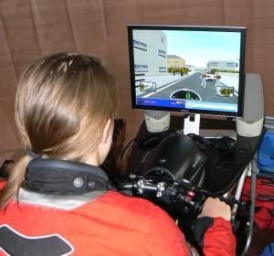 Jeannine on the Smart Trainer simulator.