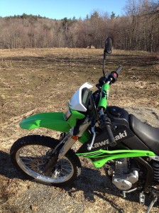 Three deer came by for a closer look at the Green KLX.