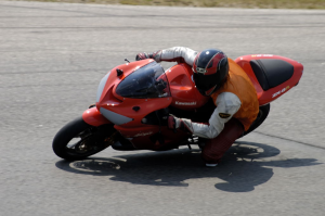 Modern sporty street tires are quite capable of fast track riding.