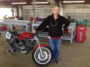 Famed author and chassis engineer, Tony Foale with his borrowed SRX600.