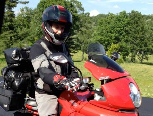 The X-creen mounted on a 2007 Ducati Multistrada. Model: Jeannine Condon