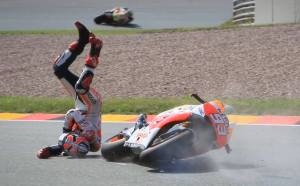 Marc Marquez takes a big hit. We would all wish for his airbag race suit if we were to crash.