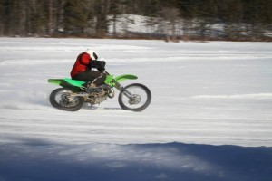 Almost crashing on AMA tires in accumulated ice chips.